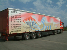 Here is a sliding tarpaulin with four-colour printing varnished for an Isometal semitrailer
